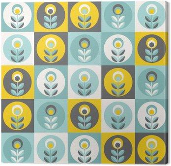 Canvastavla Retro blommönster, geometriskt sömlösa blommor