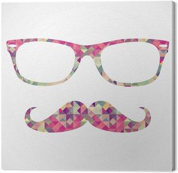 Canvastavla Retro hipsterbröllop face geometriska ikoner