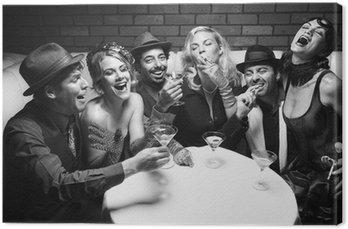 Canvastavla Retro män och kvinnor skrattar.