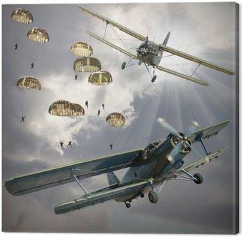 Canvastavla Retro stil bild av biplan med luftburen infanteri.