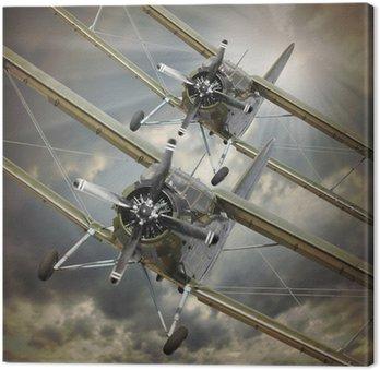 Canvastavla Retro stil bild av biplan. Transport tema.