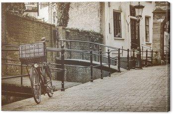 Canvastavla Retro stil bild av den holländska staden Gouda
