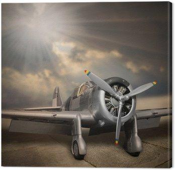 Canvastavla Retro stil bild av flygplanet.