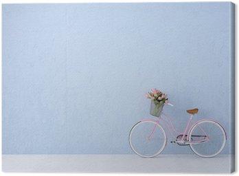 Canvastavla Retro tappning cykel gammal och blå vägg. 3D-rendering