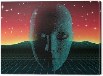 Canvastavla Retro våg glänsande huvud siluett över neonlandskap