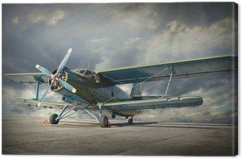 Canvastavla Retrostil bild av biplan. Transport tema.