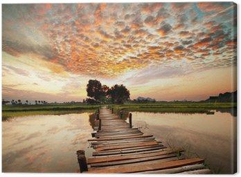 Canvastavla River på solnedgången