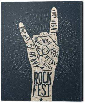 Canvastavla Rockfestival affisch, flygblad. Vektor handen rita stil illustration.