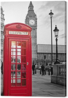Canvastavla Röd telefonkiosk i London med Big Ben i svart och vitt