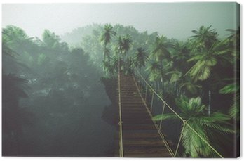 Canvastavla Rope bridge in misty jungle with palms. Backlit.