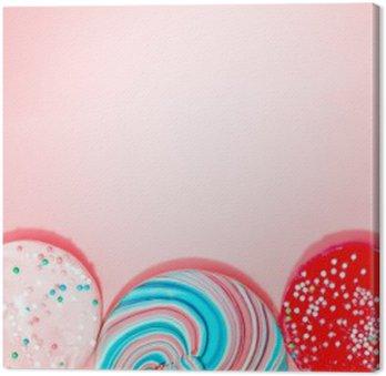 Canvastavla Rosa bakgrund med godis