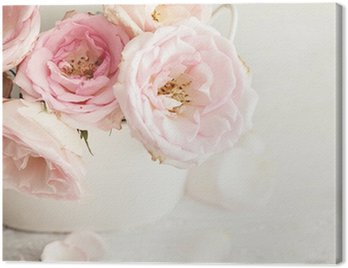 Canvastavla Rosa blommor i en vas