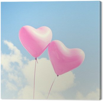 Canvastavla Rosa hjärta ballonger