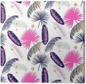 Canvastavla Rosa och blå banan palmblad sömlösa vektor mönster på vit bakgrund. Tropisk banan djungel löv. Glitter prickar.