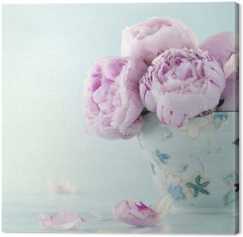 Canvastavla Rosa pion blommor