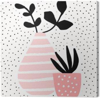 Canvastavla Rosa vas och kruka med växter