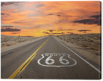 Canvastavla Route 66 Pavement Sign Sunrise Mojaveöknen