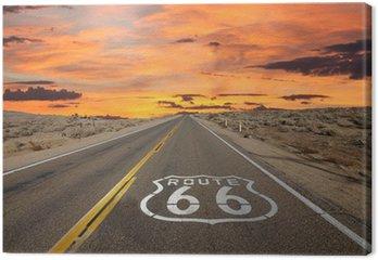 Canvastavla Route 66 Pavement Sign Sunrise Mojaveöknen