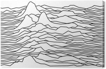 Canvastavla Rytmen av vågorna, pulsar, vektor linjer konstruktion, streckade linjer, berg