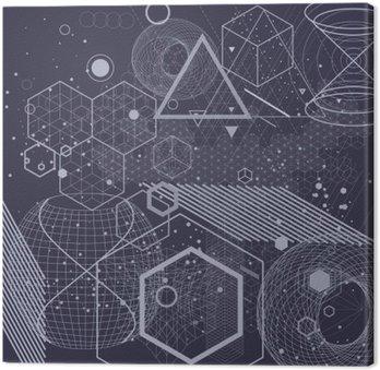 Canvastavla Sakral geometri symboler och element bakgrund. Kosmiskt, universum, bing bang, alkemi, religion, filosofi, astrologi, vetenskap, fysik, kemi och andlighet teman.