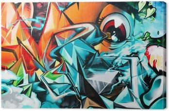 Canvastavla Sammanfattning Graffiti detalj på texturerade väggen