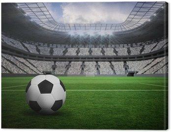 Canvastavla Sammansatt bild av svart och vitt läder fotboll