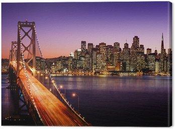 Canvastavla San Francisco skyline och Bay Bridge i solnedgången, Kalifornien