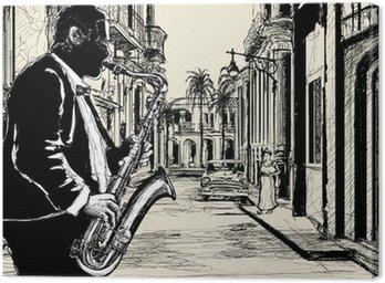 Canvastavla Saxofonist på en gata i Kuba