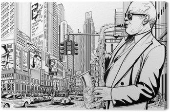 Canvastavla Saxofonist på en gata i New-York