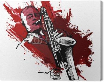 Canvastavla Saxofonist på en grunge bakgrund