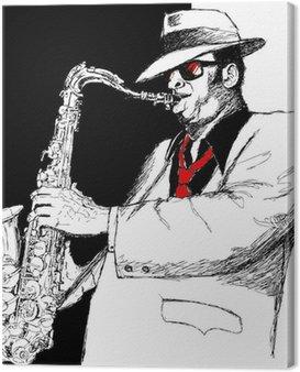 Canvastavla Saxofonspelare