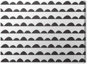 Canvastavla Scandinavian sömlösa svart och vitt mönster i handritad stil. Stiliserade hill rader. Wave enkelt mönster för tyg, textil och barn linne.