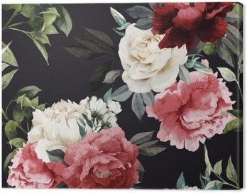 Canvastavla Seamless blommiga mönster med rosor, vattenfärg. vektor illustrat