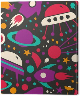 Canvastavla Seamless kontrast kosmisk mönster