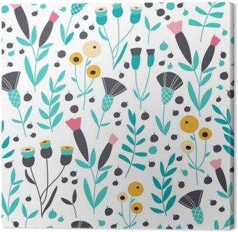 Canvastavla Seamless ljusa skandinaviska blommiga mönster