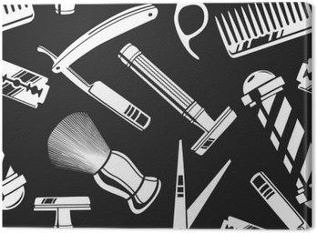 Canvastavla Seamless mönster bakgrund med vintage barberare butik verktyg