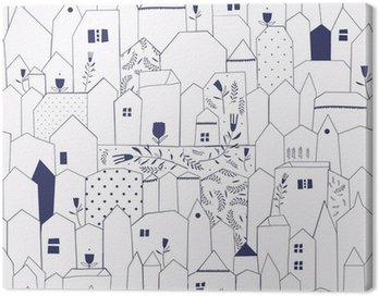 Canvastavla Seamless mönster. Figur städer i vintage stil.