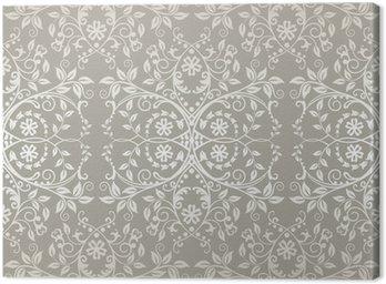 Canvastavla Seamless silver spets blommor och blad tapeter