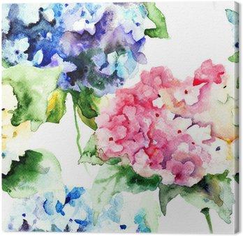 Canvastavla Seamless Vackra Hydrangea blå blommor
