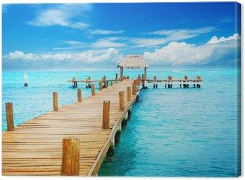 Canvastavla Semester i Tropic Paradise. Brygga på Isla Mujeres, Mexiko