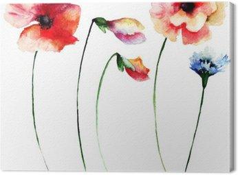 Canvastavla Set sommar vattenfärg blommor