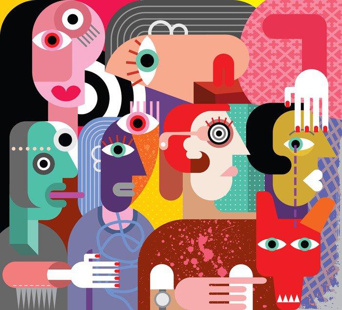 Canvastavla Sex kvinnor och hund - Teman