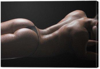 Canvastavla Sexig kvinna kropp, våt hud, svart bakgrund