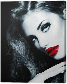 Canvastavla Sexy Skönhet flicka med röda läppar och naglar. Provocerande makeup