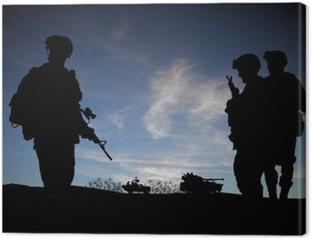 Canvastavla Silhouette av moderna soldater med militärfordon
