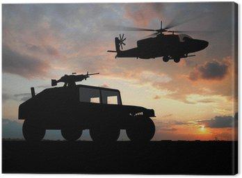 Canvastavla Silhuett av truck över solnedgången med helikopter.