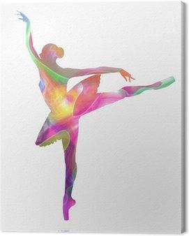 Canvastavla Silhuett ballerina sammansatt av färger