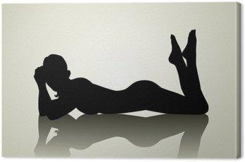 Canvastavla Silhuett illustration av en kvinna figur liggande på golvet