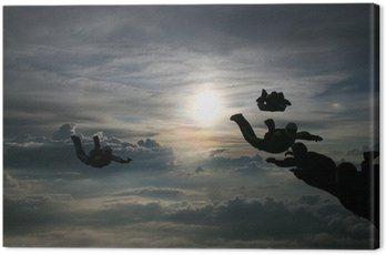 Canvastavla Silhuett Skydivers