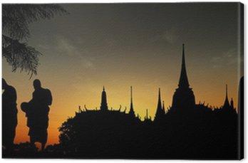 Canvastavla Silhuetter av munkar, Thailand